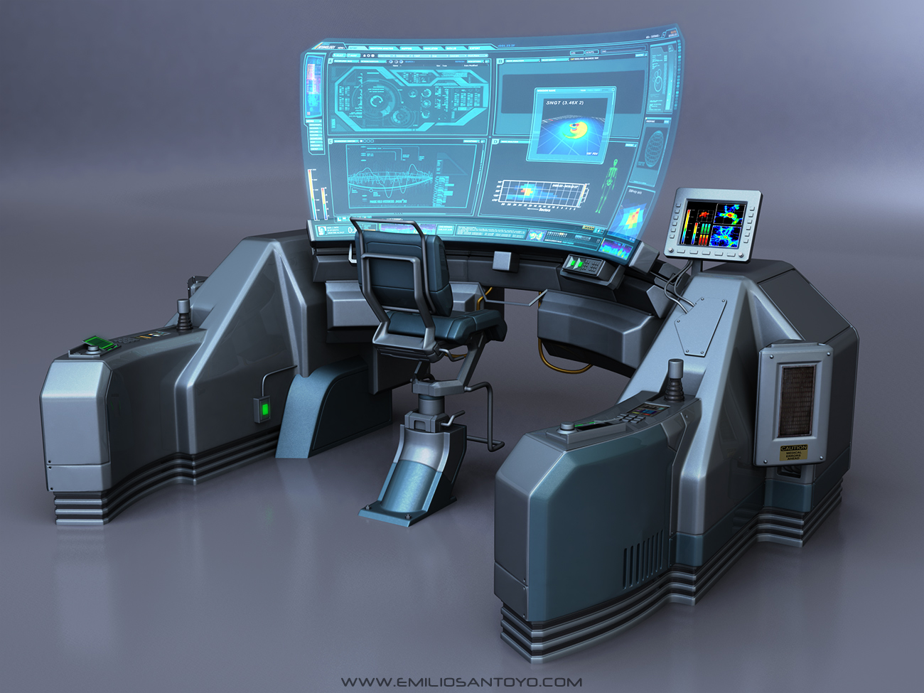 Sci-Fi Console with chair. Software used 3ds Max, PhotoShop, and